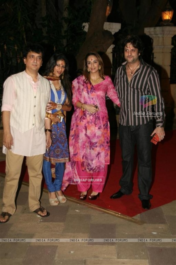 Fardeen Khan with wife Natasha at Sanjay Dutt's Mata Ki Chowki at Bandra