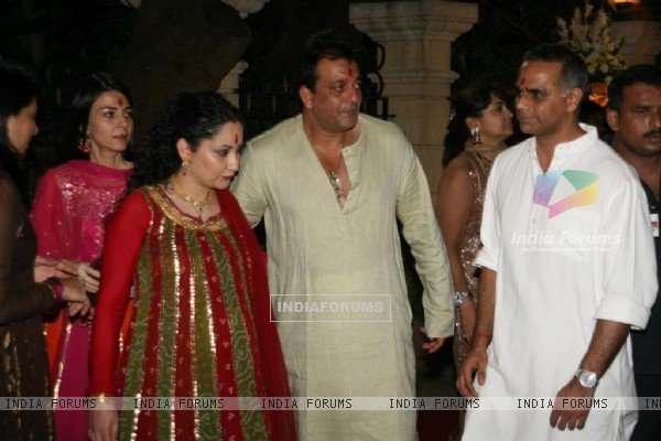 Sanjay and Manyata at Sanjay Dutt's Mata Ki Chowki at Bandra