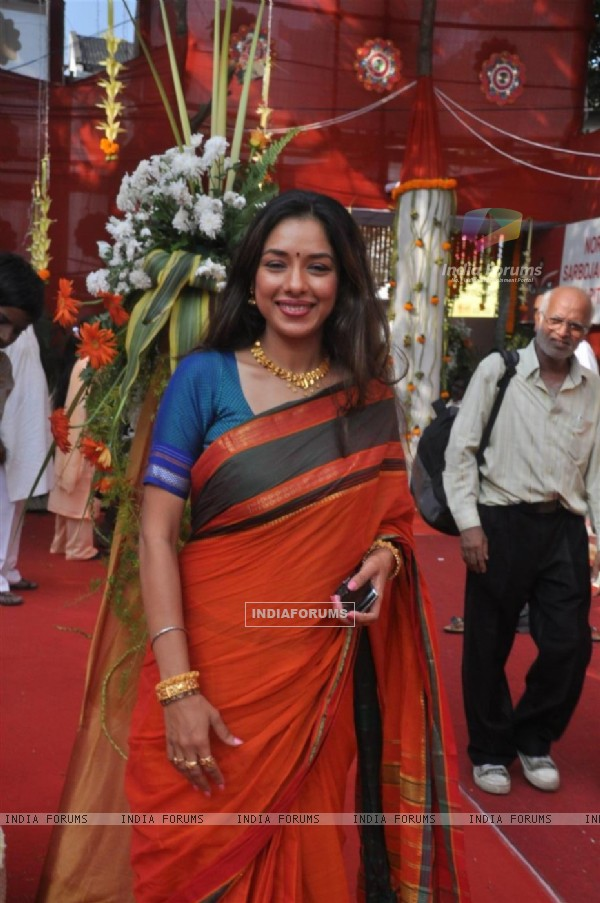 Rupali Ganguly attend a Durga Puja event