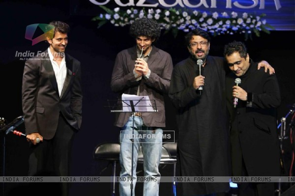 Hrithik, Sanjay Bhansali and Kunal at Music release of 'Guzaarish' at Yash Raj Studio, Mumbai