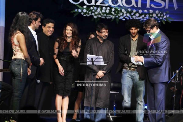 Hrithik, Sanjay, Amitabh and Aishwarya at Music release of 'Guzaarish' at Yash Raj Studio, Mumbai