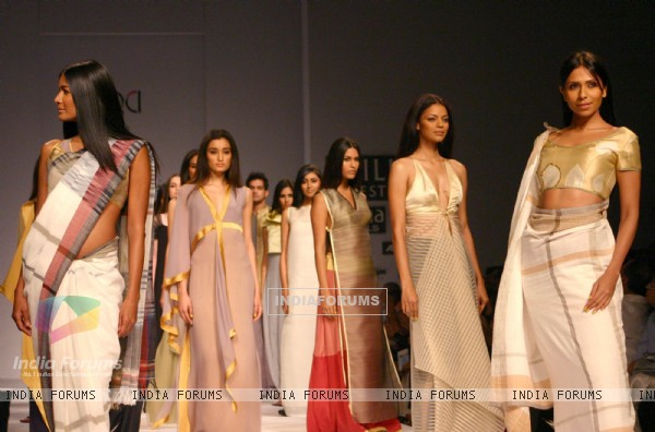 Models showcasing  designer Wendell Rodricks,s  creations at the Wills Lifestyle India Fashion Week-Spring summer 2011,in New Delhi on Sunday