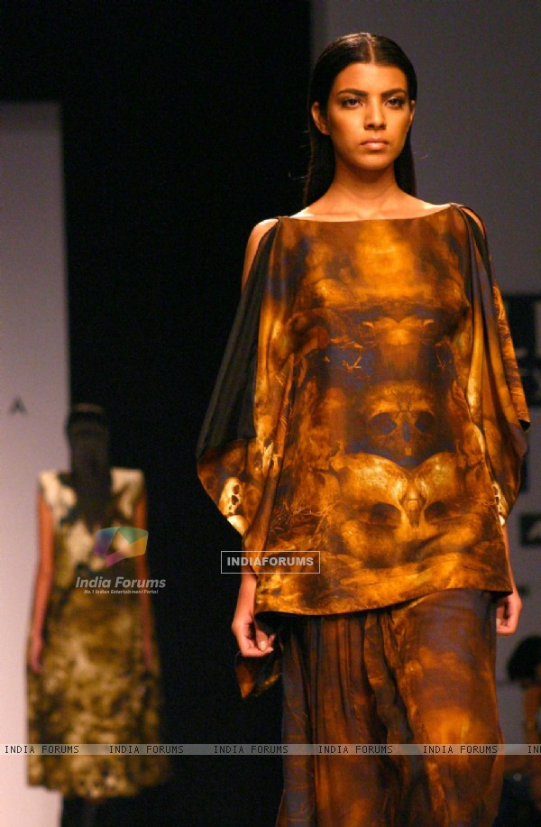 A model showcasing a designer Prashant Verma's creation at the Wills Lifestyle India Fashion Week-Spring summer 2011,in New Delhi on Monday