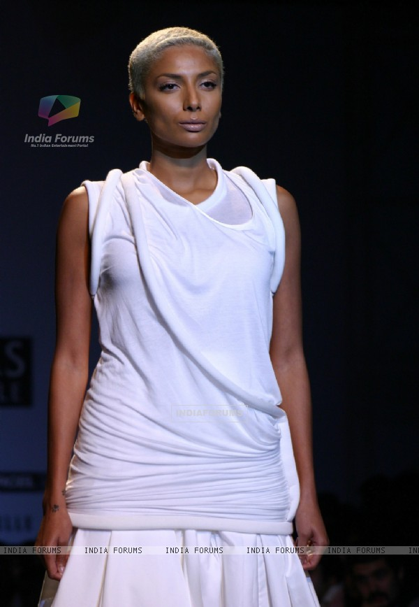 A model showcasing a designer Arjun's creation at the Wills Lifestyle India Fashion Week-Spring summer 2011, in New Delhi on Monday
