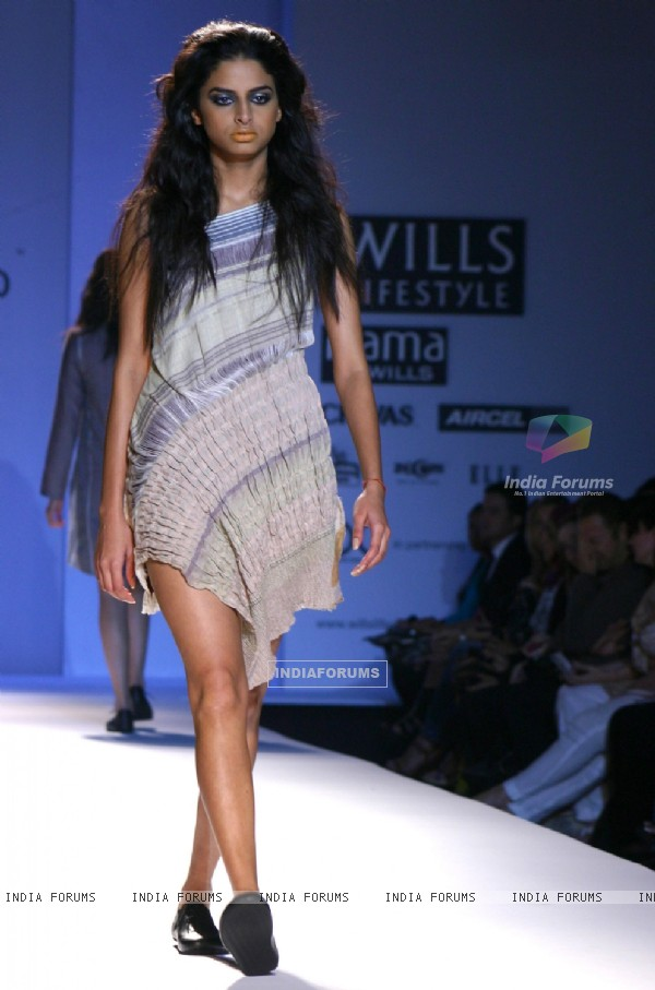 A model showcasing designer Gaurav Jai Gupta's  creation at the Wills Lifestyle India Fashion Week-Spring summer 2011 in New Delhi on Tue 26 Oct 2010
