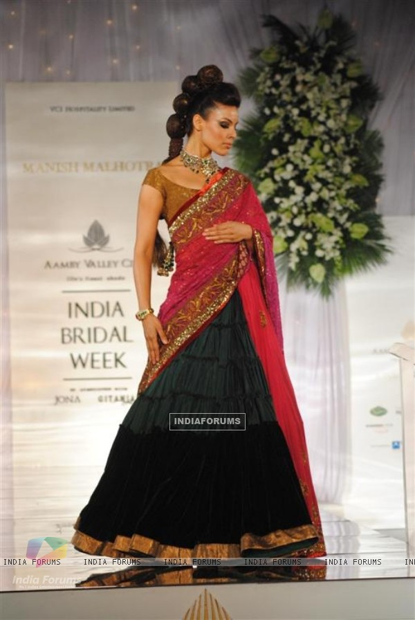 Model Walks for fashion designer Manish Malhotra at Aamby Valley Indian Bridal Week day 5