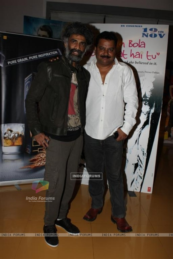 Makrand Deshpande and Nagesh Bhonsle at Shahrukh Bola Khoobsurat Hai Tu film premiere at Cinemax