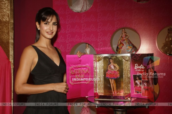 Katrina Kaif with Katrina Barbie Doll made in her likeness