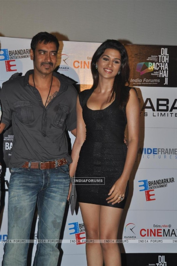"Ajay and Shraddha at Madhur Bhandarkar upcoming romantic comedy film ""Dil Toh Baccha Hai Ji"" first l"