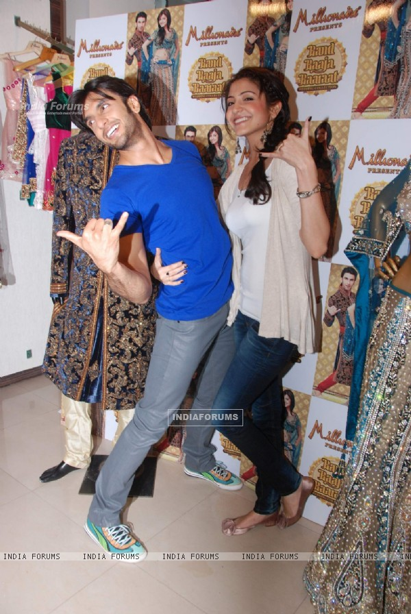 Anushka and Ranveer at Band Baaja Baarat wedding collection launch at Inorbit Mall. .