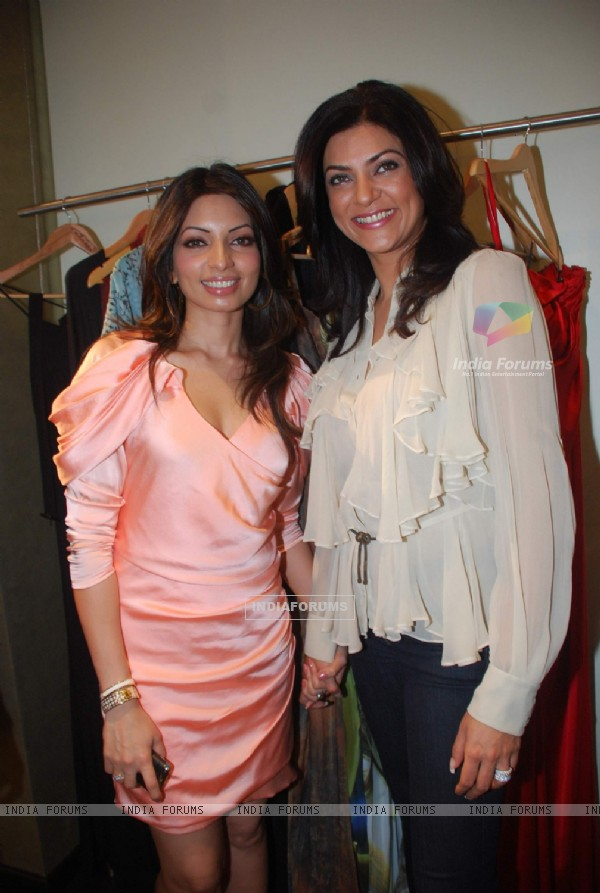 Sushmita Sen unveils Saisha design label by Shama Sikander at Bandra. .