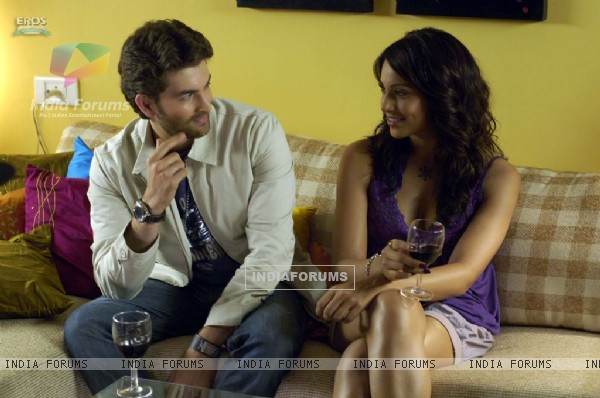 Neil and Bipasha having wine together