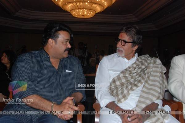 Big B and Mohanlal at Kandahar press meet hosted by Leela Hotels. .
