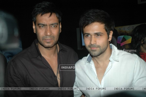 Ajay Devgan and Emraan Hashmi at Dil To Baccha Hai Ji music launch at Cinemax. .