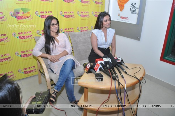 "Vidya Balan and Rani Mukherjee arrive to promote the Hindi film "" No One Killed Jessica"" at a 98.3 FM Radio station"
