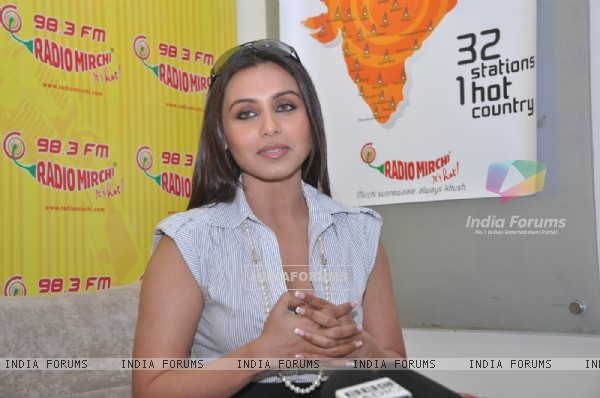 "Rani Mukherjee arrive to promote the Hindi film "" No One Killed Jessica"" at a 98.3 FM Radio station"
