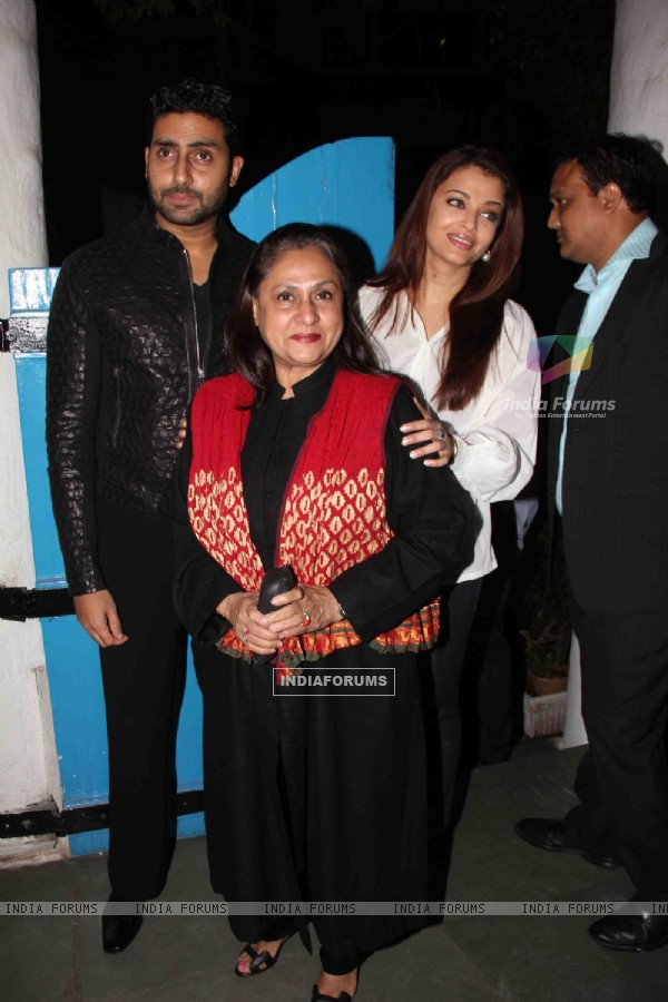 Jaya, Abhishek and Aishwarya Rai Bachchan at Dabboo Ratnani Calendar Launch at Olive, Bandra, Mumbai