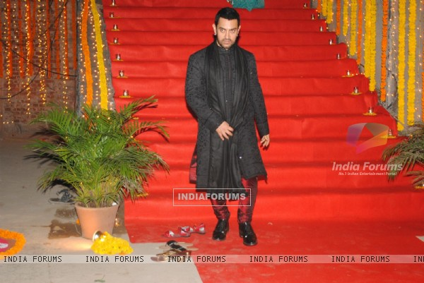 Aamir Khan at nephew Imran Khan's wedding ceremony with Avantika Malik in Pali Hill, Mumbai