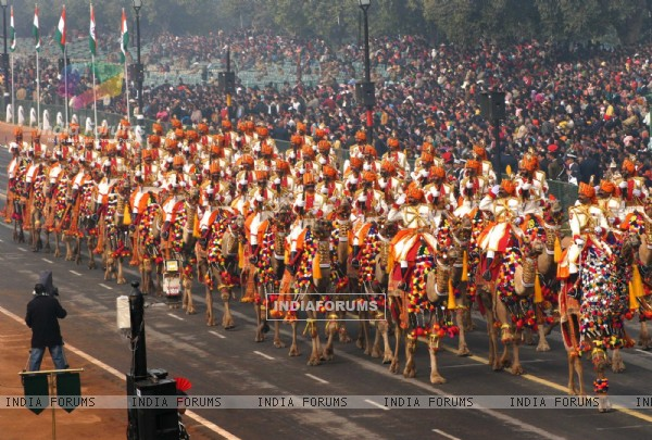 The dress rehearsal for the Republic Day parade at Rajpath 23 Jan 2011. .