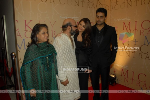 Jaya, Abhishek and Aishwarya Rai Bachchan in MAC bash hosted by Mickey Contractor
