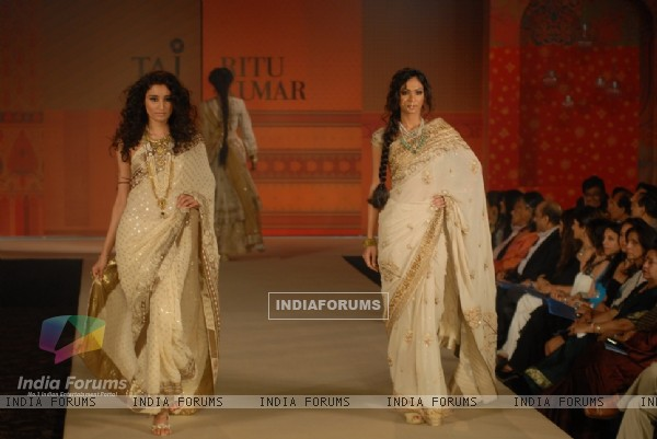 Models walk the ramp for Ritu Kumar fashion show at Taj land's End, Bandra in Mumbai