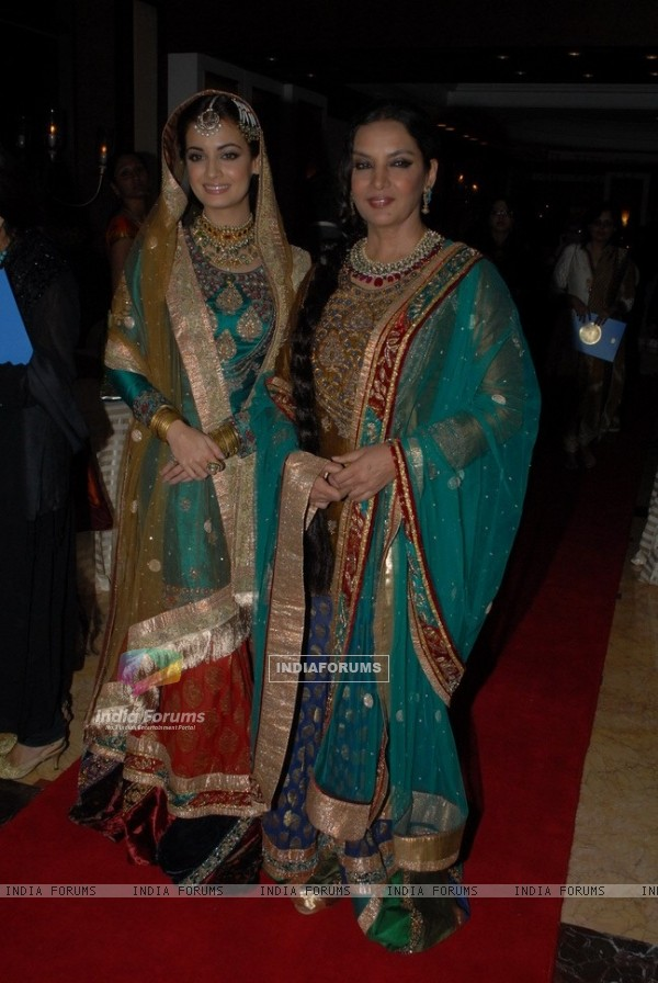Dia Mirza and Shabana Azmi for Ritu Kumar fashion show at Taj land's End, Bandra in Mumbai