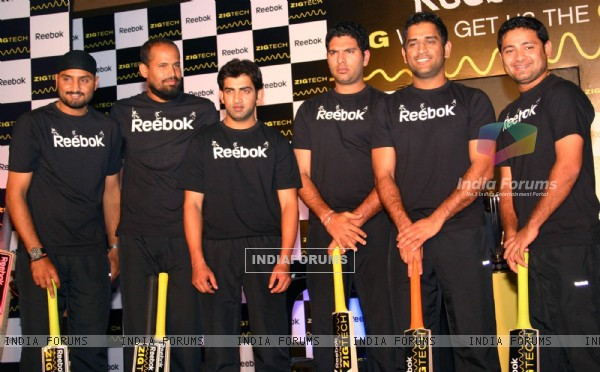 Cricketers Harbhajan Singh, Yusuf Pathan, Gautam Gambhir, Yuvraj Singh, M S Dhoni and Piyush Chawla at a promotional event in New Delhi on Wed 2 Feb 2011. .