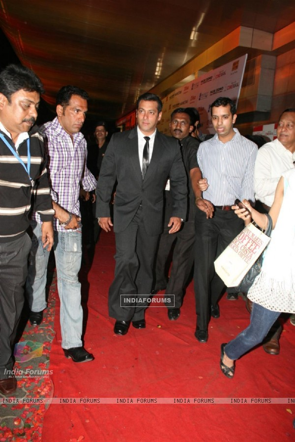 "Salman Khan at Dev Anand's old classic film ""Hum Dono"" premiere at Cinemax Versova"