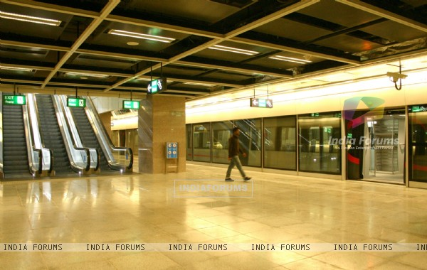 A inside view of Airport Metro station at IGI Airport in New Delhi on Sat 5 Feb 2011. .