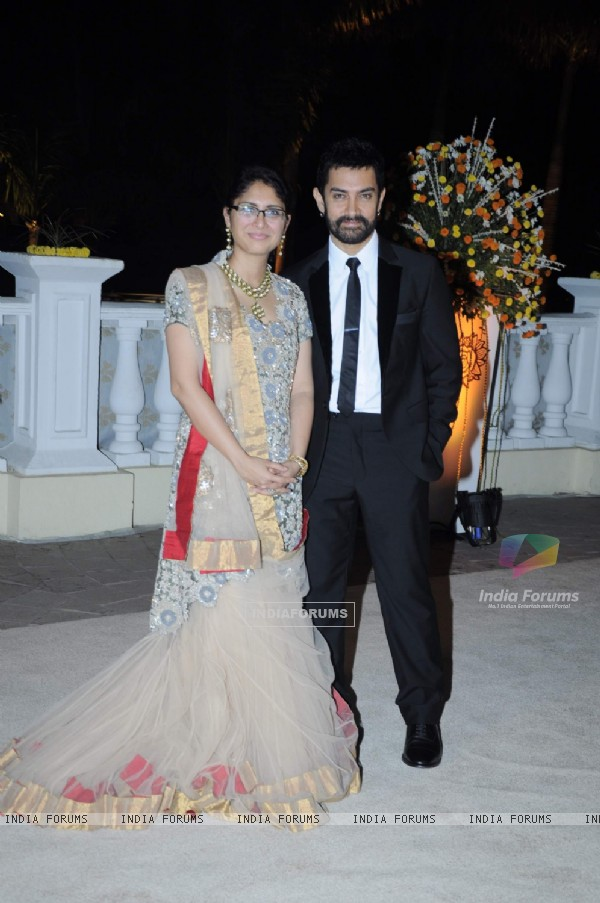Aamir Khan and Kiran Rao at Imran Khan and Avantika Malik's Wedding Reception Party at Taj Land's End. .