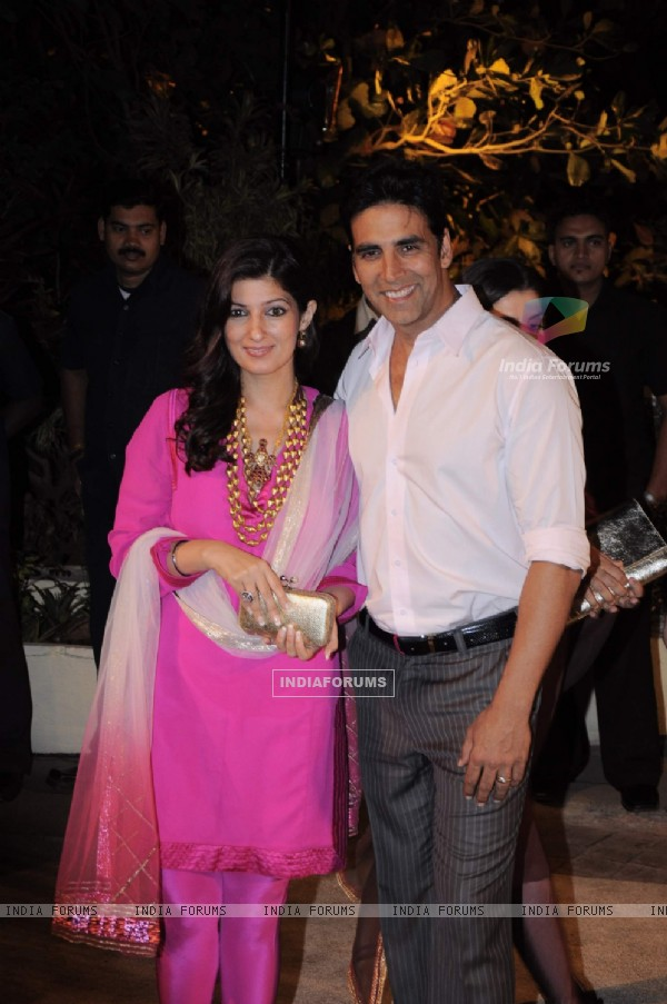 Akshay Kumar with wife Twinkle Khanna at Imran Khan and Avantika Malik's Wedding Reception Party at Taj Land's End. .