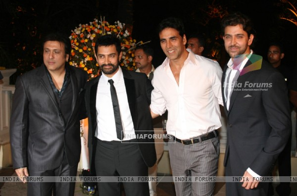 Aamir with Akshay, Hrithik and Govinda at Imran Khan and Avantika Malik's Wedding Reception Party