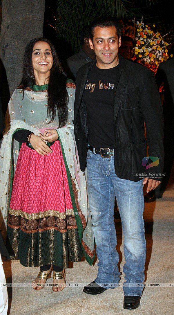 Salman and Vidya Balan at Imran Khan and Avantika Malik's Wedding Reception Party at Taj Land's End