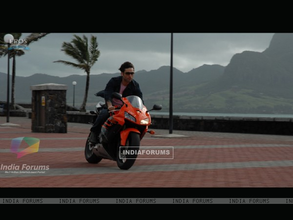Shiney Ahuja riding a bike