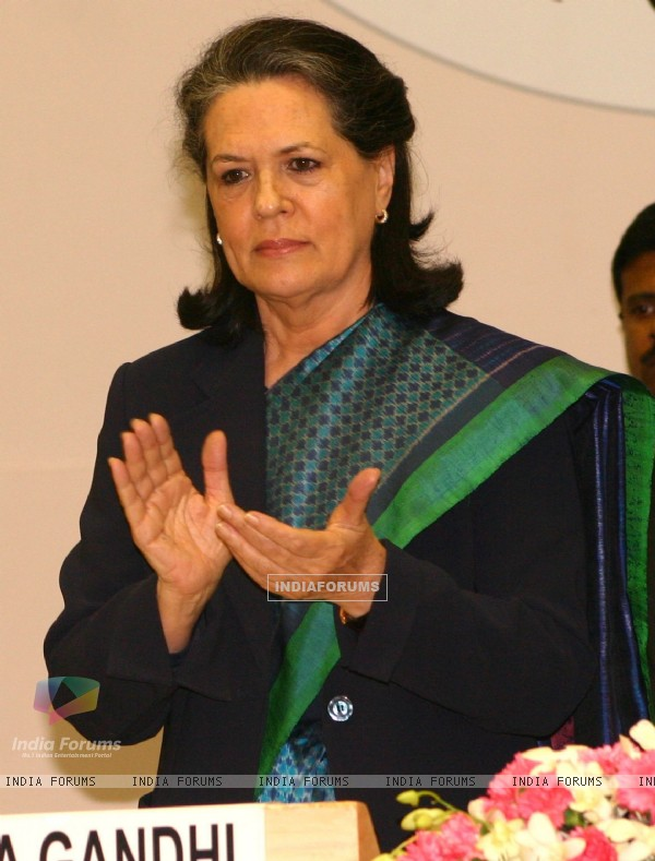 "Sonia Gandhi at the launch of ""Swabhiman"", the Financial Inclusion Campaign in New Delhi"