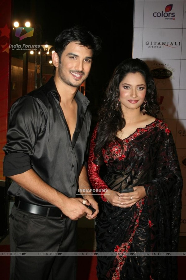 Ankita and Sushant at Global Indian film and Television awards at Yash Raj studios in Mumbai