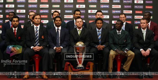 cup teams with the ICC Cricket World Cup trophy in Dhaka, Bangladesh ...