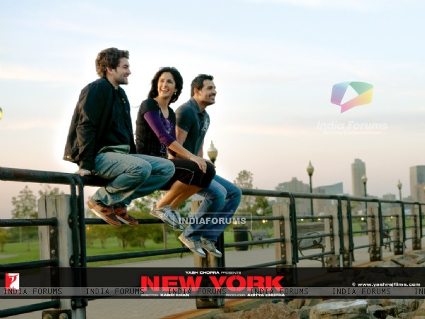 John Abraham,Katrina Kaif and Neil Nitin Mukesh sitting on a  railing