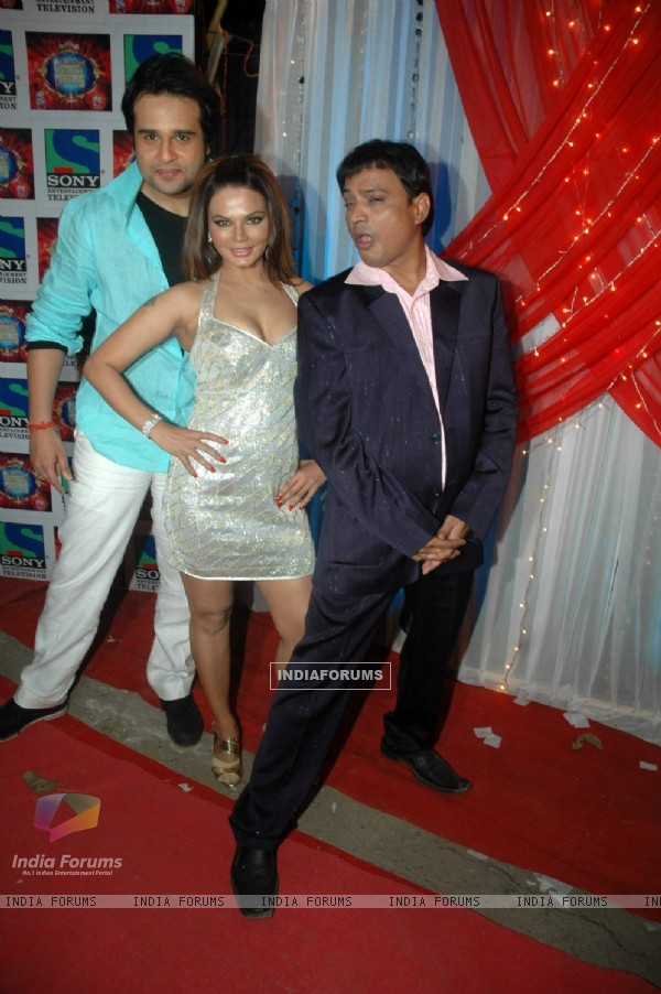 Rakhi Sawant and Krushna Abhishek at the location of Comedy Circus in Andheri