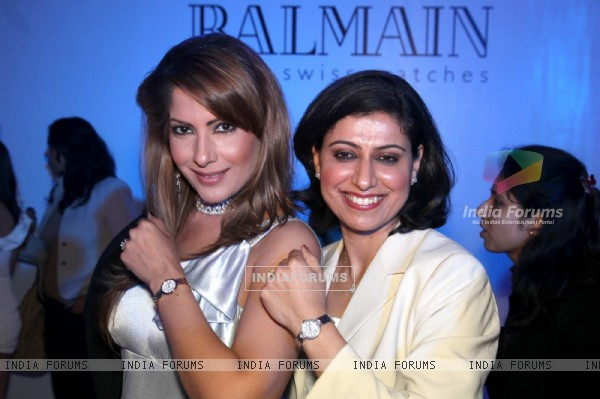Left to Right anchor Mehr Bhasin cricketer Anjum chopra showcasing a range of Balmain watches. .