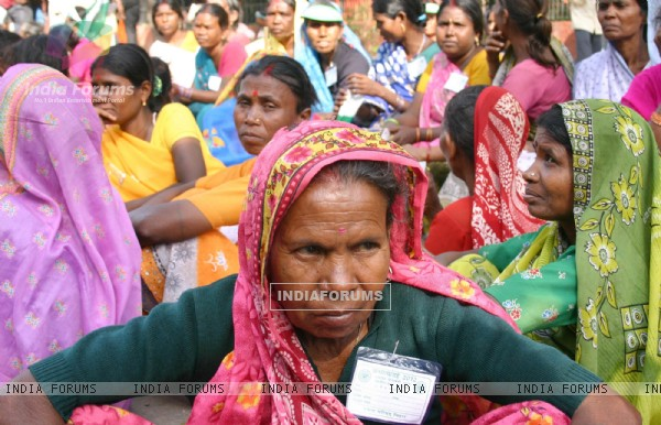 Landless Women from rural India demanding substantial progress towards equitable land distribution on the eve of International Women's, at Parliament Street in New Delhi on Monday. .