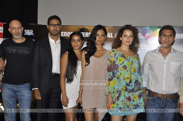 Abhishek, Kangna and Sarah Jane at Game film Press Conference at Cinemax Versova, Mumbai (124786)