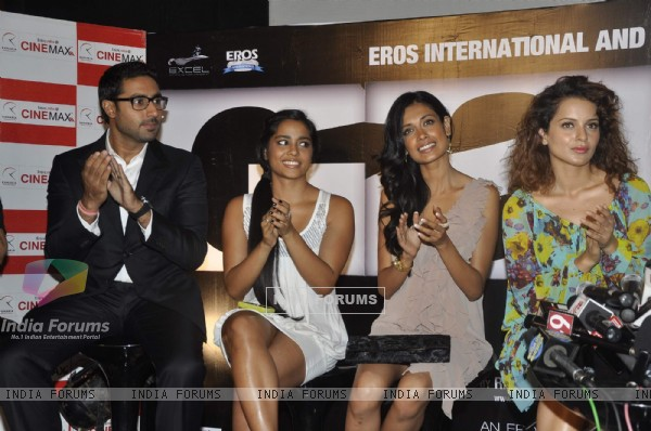 Abhishek, Kangna and Sarah Jane at Game film Press Conference at Cinemax Versova, Mumbai (124787)