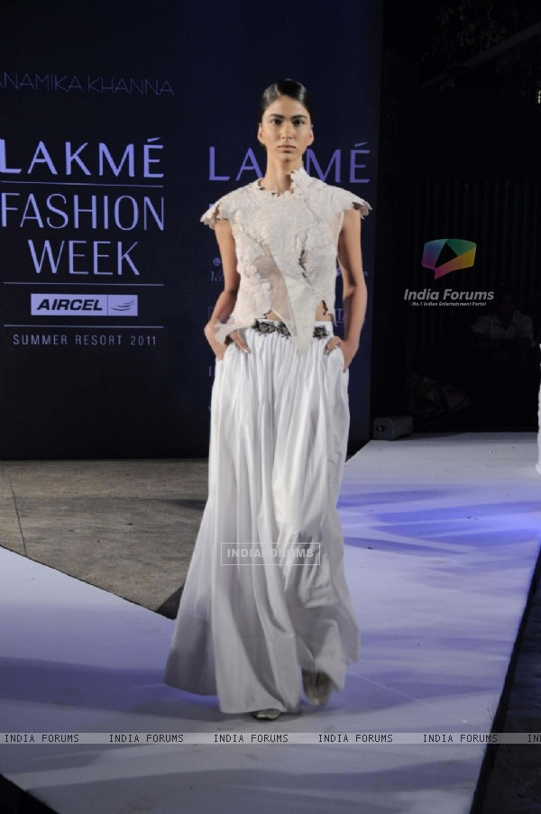 A model on day 1 Lakme Fashion Week for designer Anamika Khanna. .