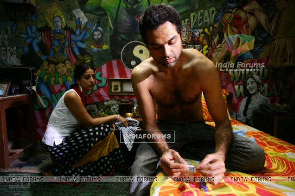 Abhay Deol and Mahie Gill in Dev D