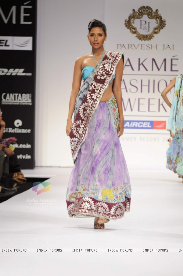 Model on day 1 Lakme Fashion Week for designer Parvesh and Jai. .