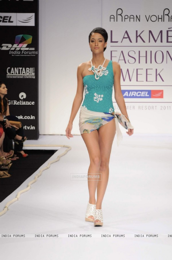Model on day 1 Lakme Fashion Week for designer Arpan Vohra. .