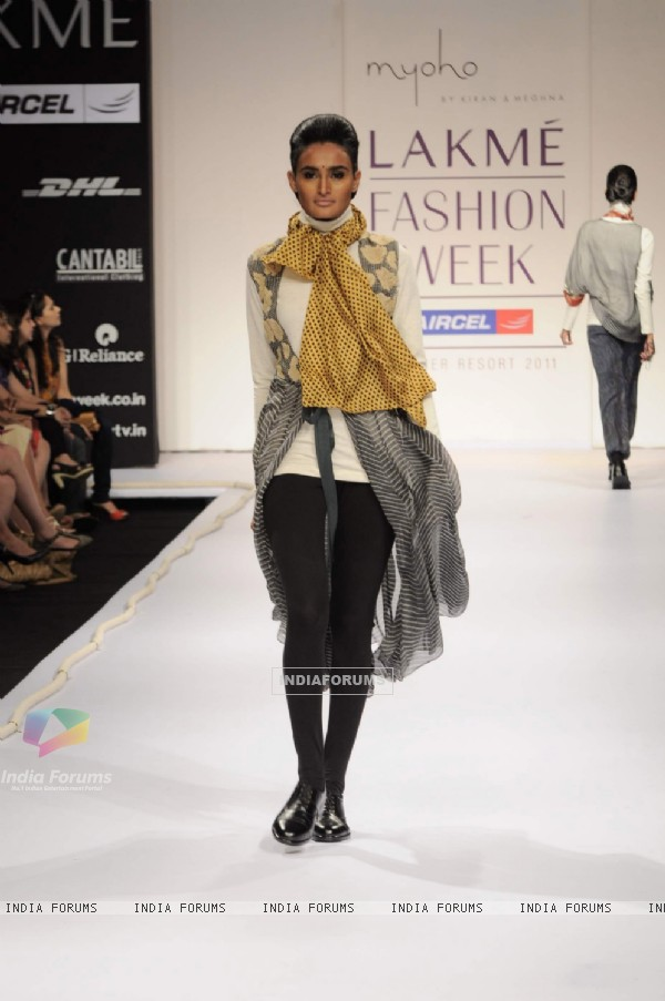 Model on day 1 Lakme Fashion Week for designer Kiran and Meghna. .