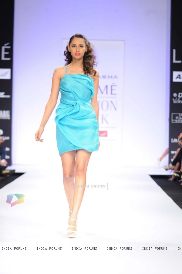 A model displays designer Jatin Varma's creations during the Lakme Fashion Week day 2 in Mumbai. .