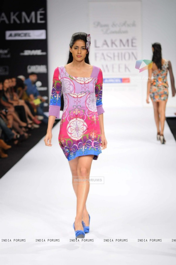 A model walks the runway at Pam & Arch London show at Lakme Fashion Week day 2 in Mumbai. .